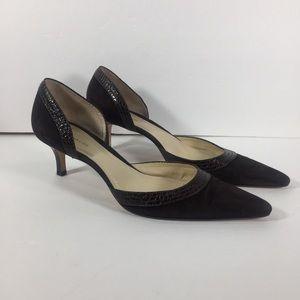 Ann Taylor Women Brown Leather Kitten Heel Pump 10